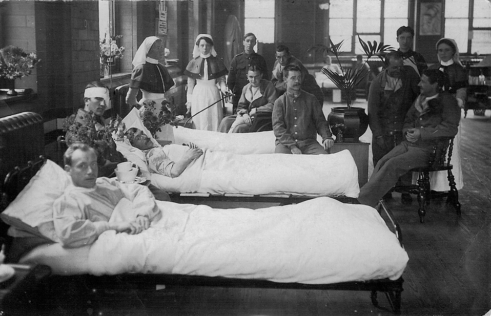 Wounded and nurses in 2nd Western General Hospital in Manchester