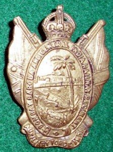 The cap badge of the Bombay, Baroda and Central India Railway Regiment