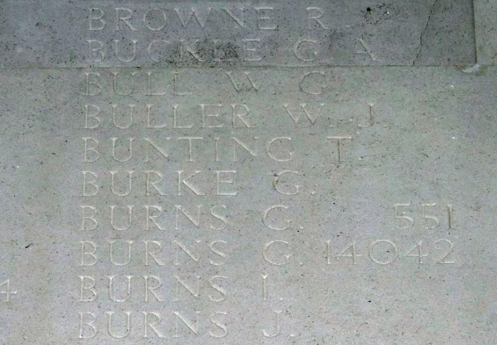 Thomas Bunting on Thiepval Memorial