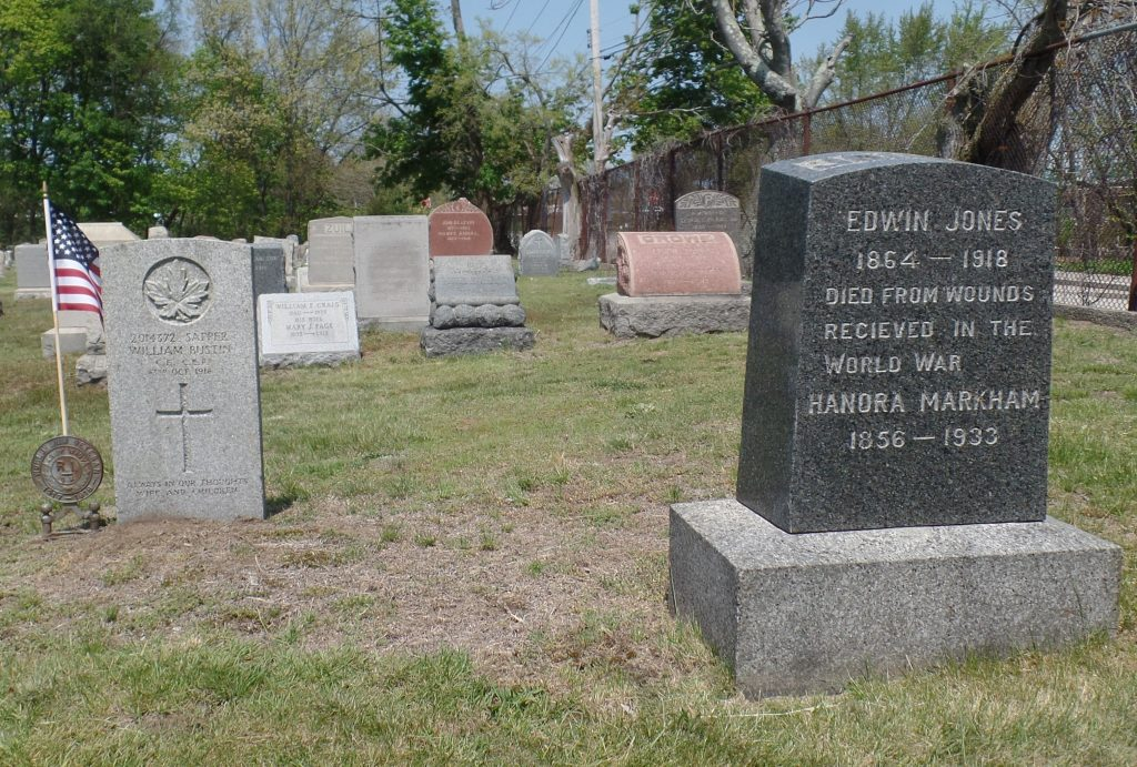 The graves of Sapper William Bustin and Edwin Jones, in North Burial Ground, Providence