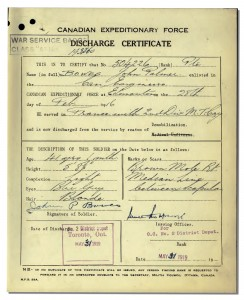 Discharge Certificate for Private John Palmer Bowes