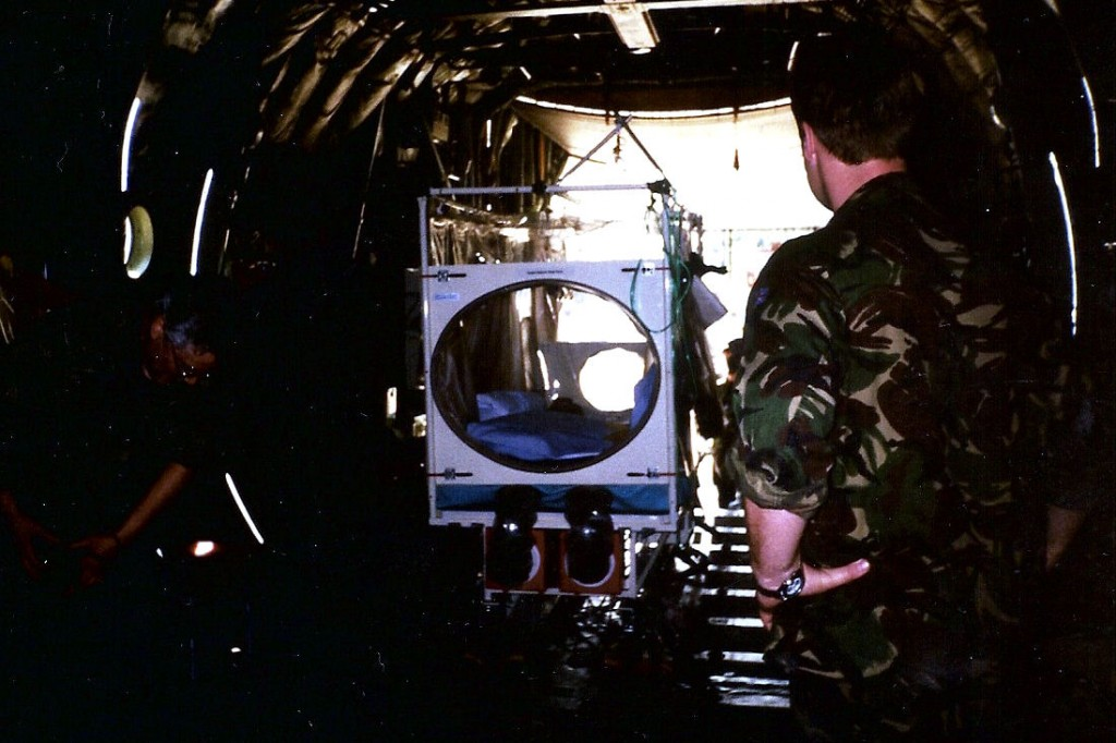 Evacuation - The RAF Tactical Medical Wing Isolation Chamber on the C-130 that evacuated me from Sierra Leone
