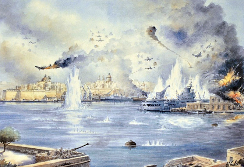 HMS Illustrious at Malta 1941 by Edwin Galea
