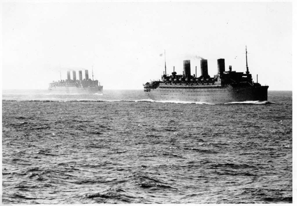 Troopships RMS Aquitania and SS Ile de France