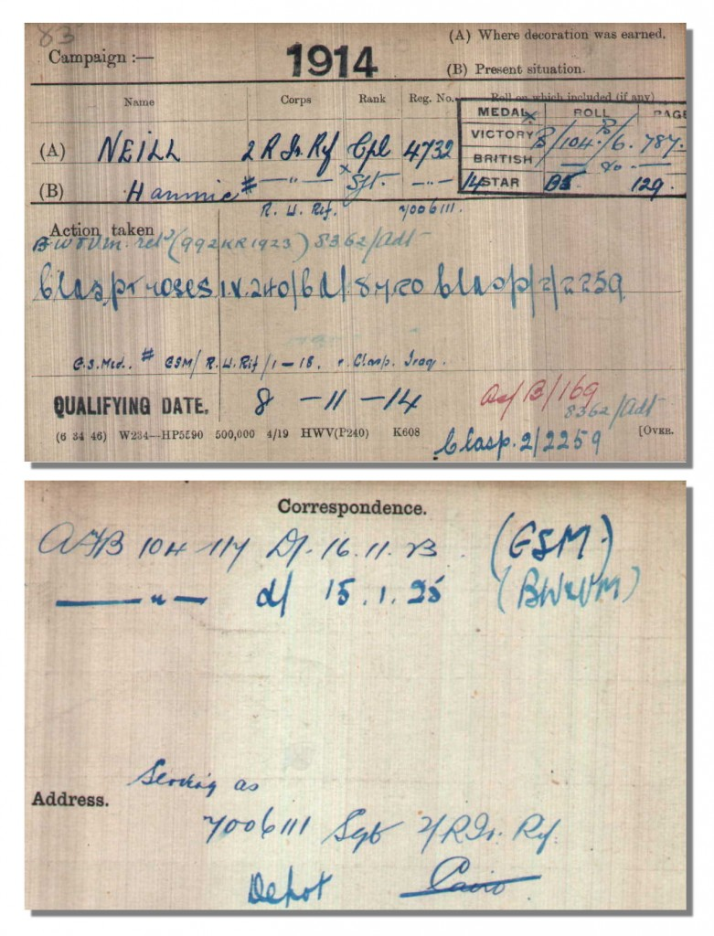 Medal Index Card for Sergeant Hammie Neill