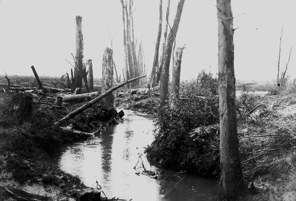 The River Douve, which ran near the Battalion's trenches, flooding them when it burst its banks.