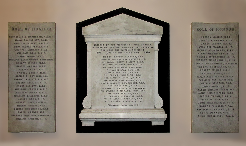 The Memorial Tablets in The Mall Presbyterian Church, Armagh