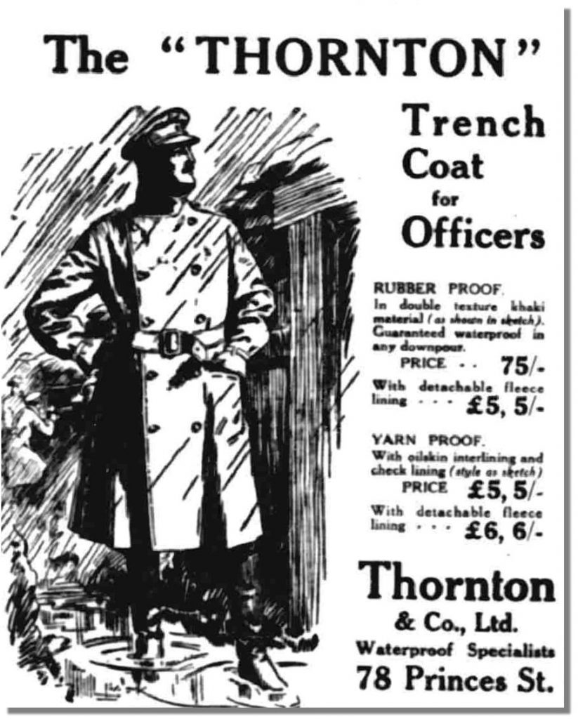 "The Thornton Trench Coat - ""New Thornton coat and long gum boots kept me quite dry in spite of rain and flood."""